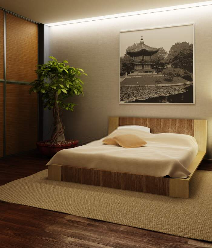 Japanese Bedroom with Potted Plant